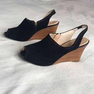 Rockport Sling Back Suede Wedges With Zippers